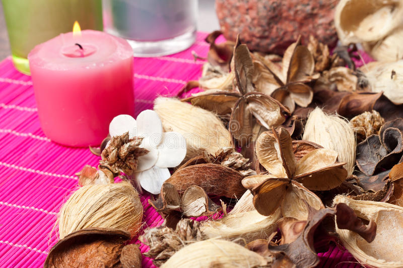 Aromatic pot pourri. Close up of decorative and aromatic pot pourri royalty free stock photo