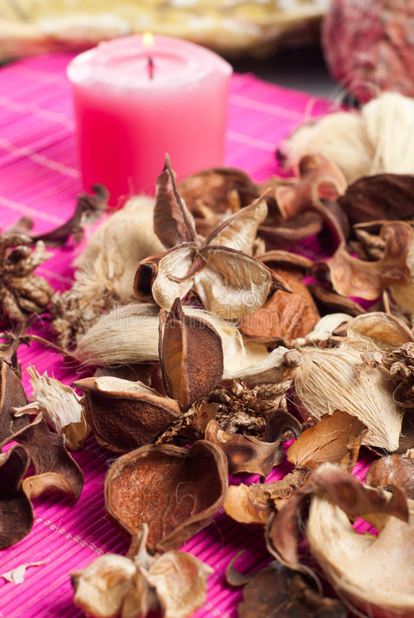 Aromatic pot pourri. Close up of decorative and aromatic pot pourri royalty free stock photography