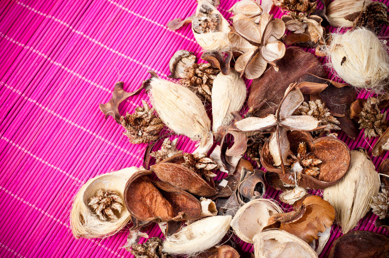 Aromatic pot pourri. Close up of decorative and aromatic pot pourri stock image