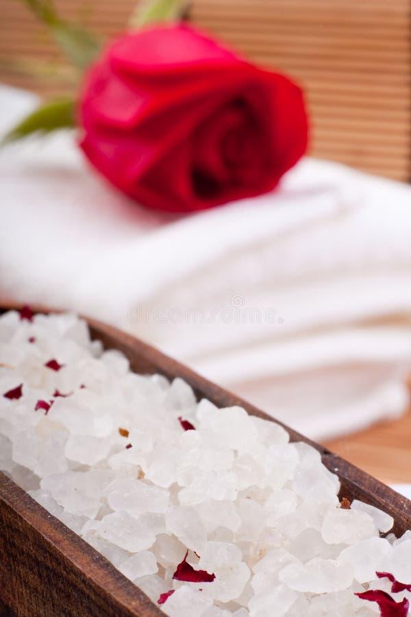 Aromatic rose bathing salt royalty free stock photo