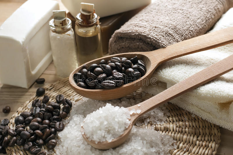 Aromatic spa coffee set stock images