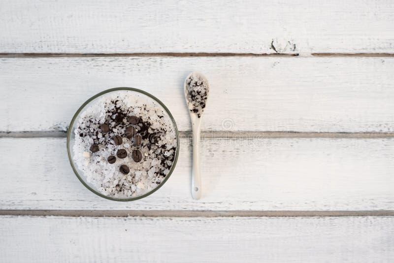 Aromatic spa coffee set with sea salt stock photography