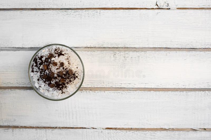 Aromatic spa coffee set with sea salt stock photo