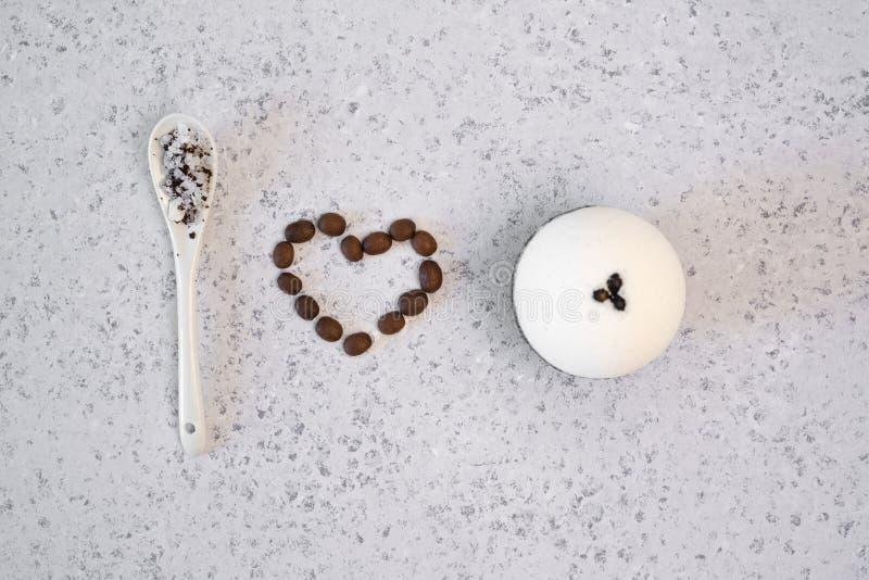 Aromatic spa coffee set with sea salt. Concept I love bath bomb stock photo