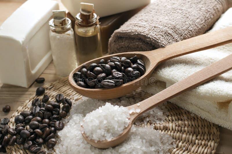 Aromatic spa koffiereeks stock afbeeldingen