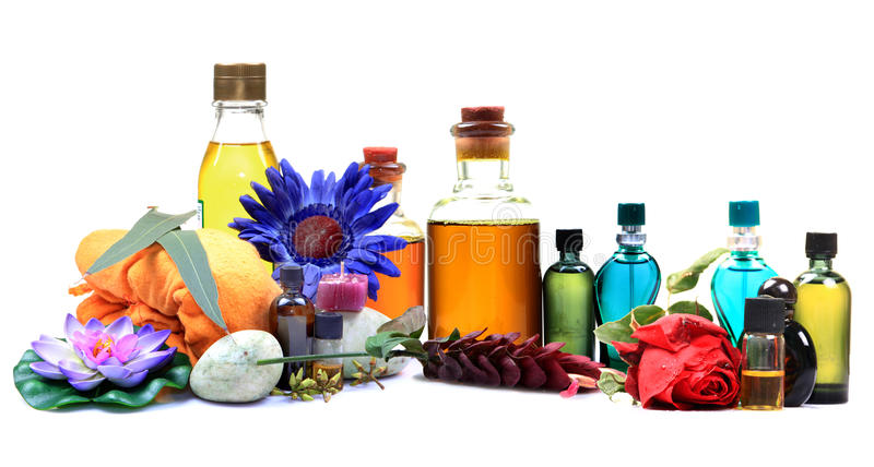 Aromatic spa oils and perfumes royalty free stock image
