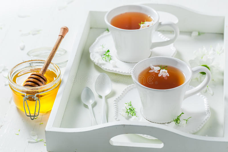 Aromatic tea with honey in sunny summer day. On wooden table stock images