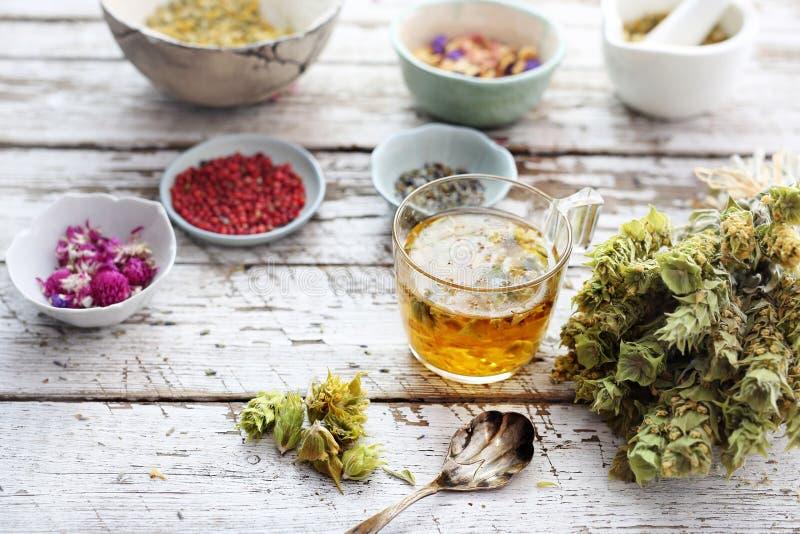 Aromatisch aftreksel, helende infusie in Libanees Wijs kruid, klaverbloemen en kruiden stock afbeelding
