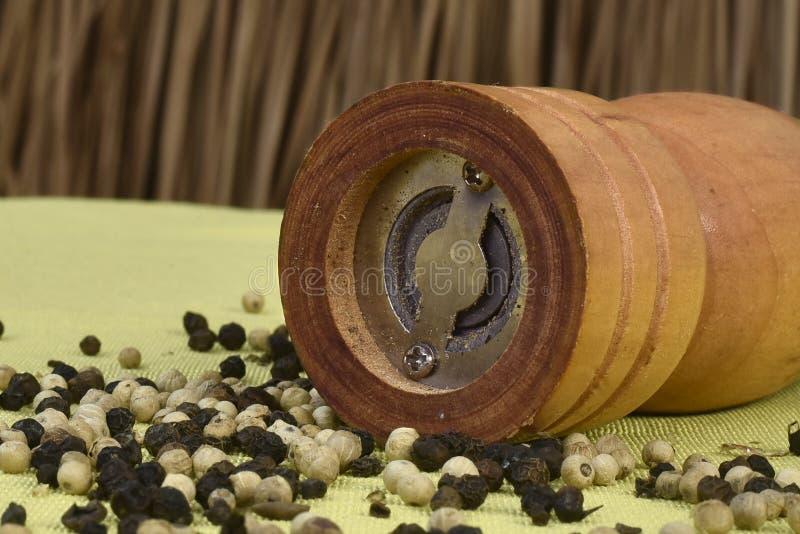 Aromatisch, specerij, het koken, restaurant, chef-kok, kruid, korrel, gastronomisch, wit kruiden, houten, molen, molen, werktuig royalty-vrije stock foto