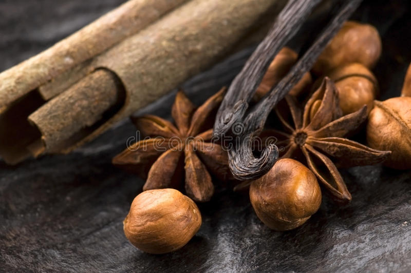 Aromatische kruiden met noten royalty-vrije stock afbeelding