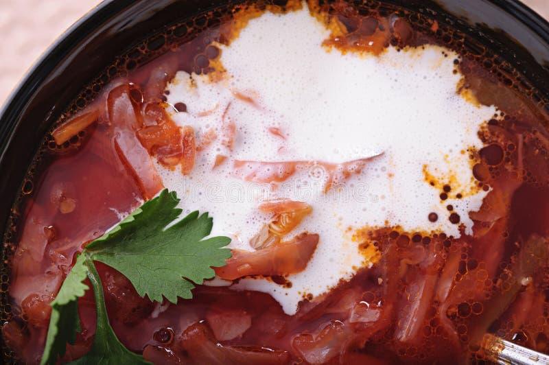 Aromatische soep met zure room en zwart brood royalty-vrije stock foto's