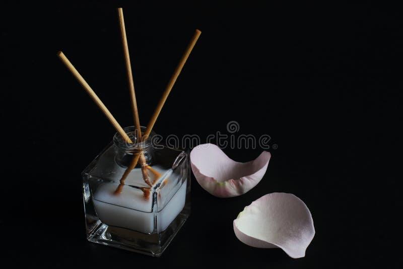 Aromatischer Glasdiffusor mit ätherischem Öl und Reedstöcke und Rosa stiegen Blumenblätter auf schwarzem Hintergrund Konzept –  stockfotografie