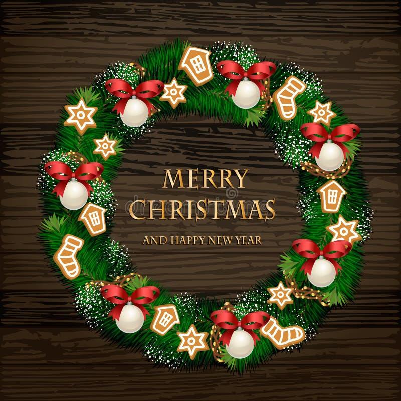 Aromatischer verzierter Weihnachtskranz auf Holztür stock abbildung