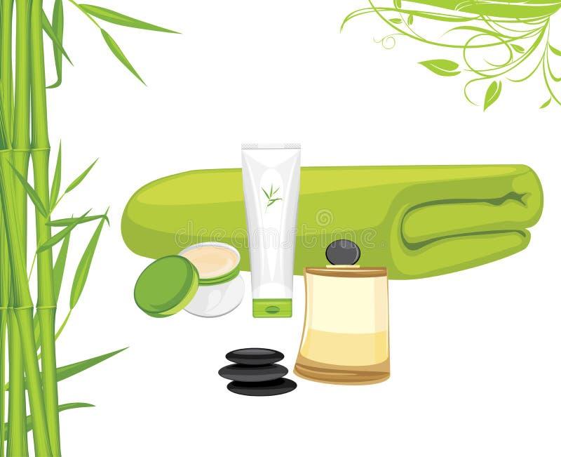Aromatisches Öl-, Bambusbadtuch, Creme und Lotion Aromatische Flüssigkeit-Reinigungsgele und weiße Tücher stock abbildung