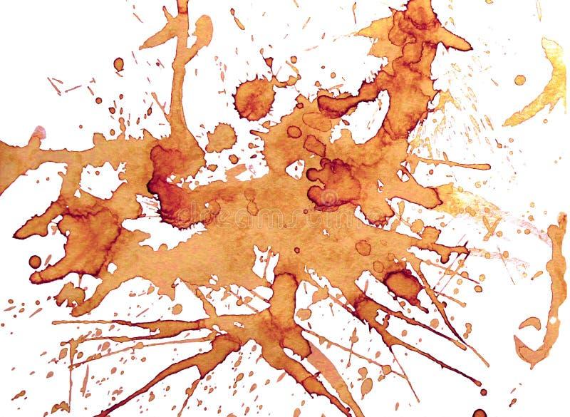 Aromatisk kaffefläck Kaffefärgstänk och fläckar royaltyfri illustrationer