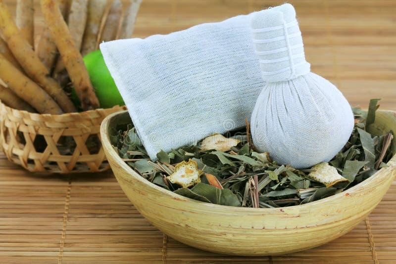 Aromatisk växt- ånga: traditionell thailändsk compress arkivfoto