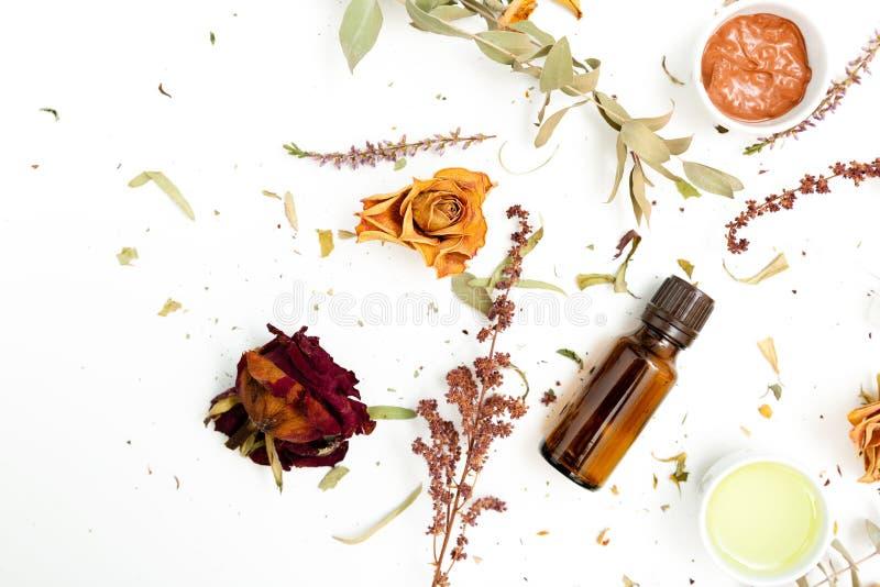 Aromatiska botaniska skönhetsmedel Torkad örtblommablandning, ansikts- gyttjaleramaskering, oljor som applicerar borsten Holistis arkivbild