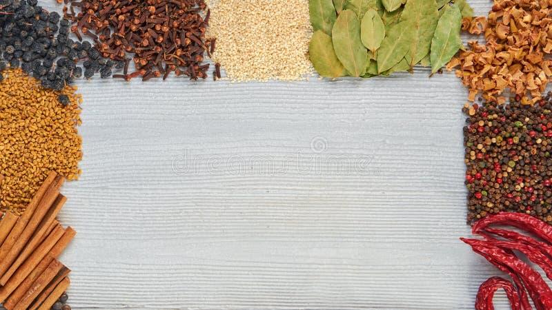 Aromatiska indiska kryddor på grånar konkret bakgrund med kopieringsutrymme på mitten olika örtkryddor arkivbilder