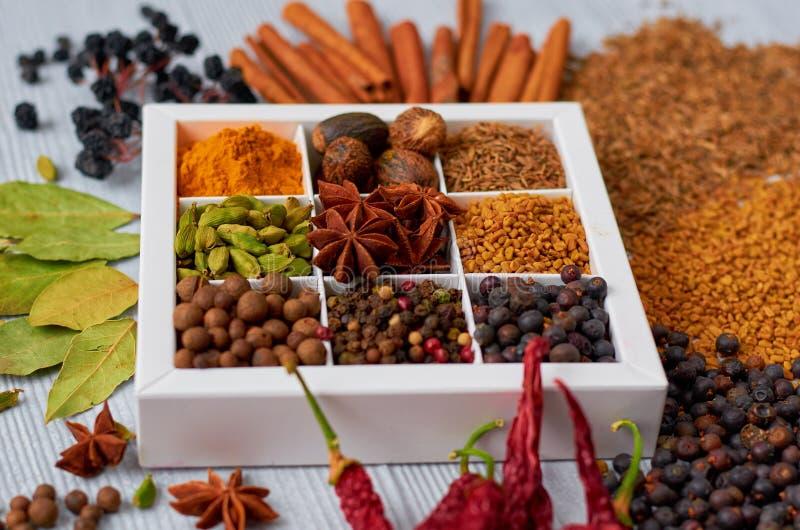 Aromatiska kryddor på den gråa bakgrunden: stjärnaanis, doftande peppar, kanel, muskotnöt, lagerbladar, nära övre för paprika royaltyfri foto