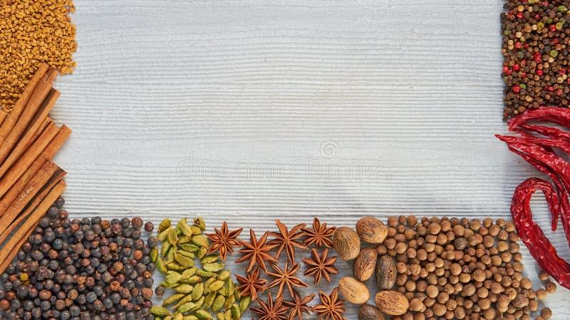 Aromatiska kryddor på grånar konkret bakgrund med kopieringsutrymme på mitten Olika indierkryddor och örter fotografering för bildbyråer