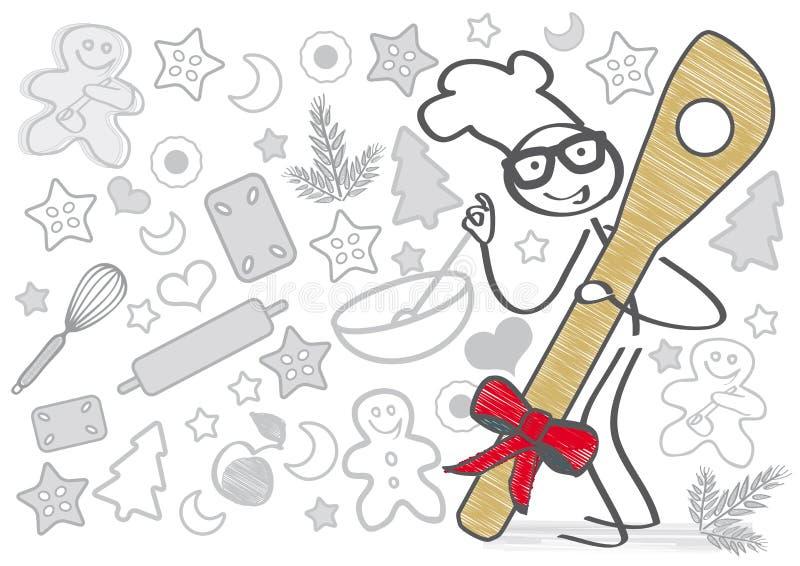 aromatiska stekheta kryddor för julkakapepparkaka vektor illustrationer