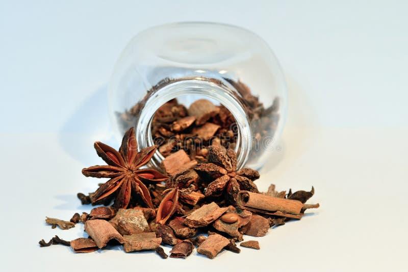 Aromatizzi il barattolo con i chiodi di garofano, l'anice stellato e la cannella fotografie stock