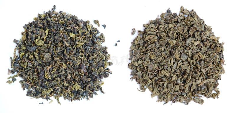 Aromatyczni zielona herbata liście zdjęcia royalty free