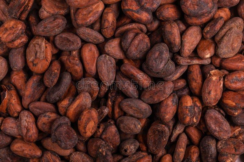 Aromatyczny surowy kakaowych fasoli tło Odgórny widok z bliska obraz royalty free