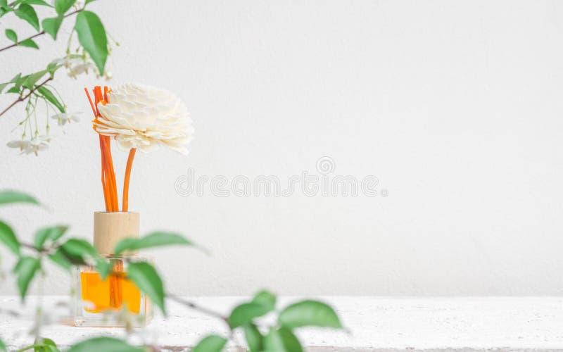 Aromatyczny trzcinowy freshener, woń dyfuzor Ustawiający butelka z aromatem wtyka trzcinowych dyfuzory na biel ściany tle i zamaz obraz royalty free