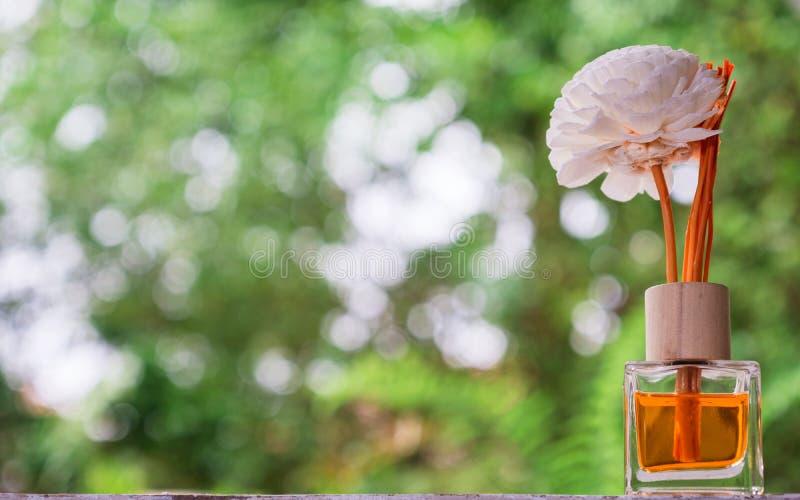 Aromatyczny trzcinowy freshener, woń dyfuzor Ustawiający butelka z aromatem wtyka trzcinowych dyfuzory z zielonym natury tłem zdjęcia stock
