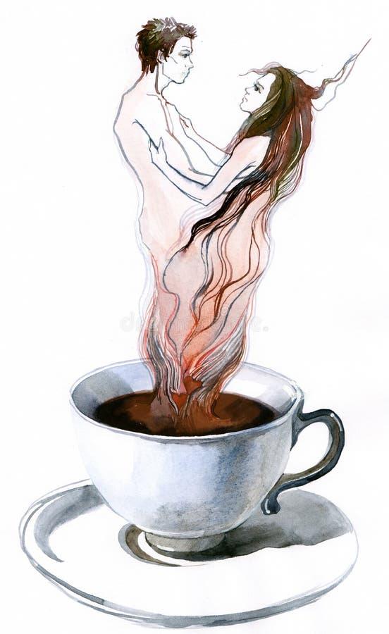aromkaffeförälskelse vektor illustrationer