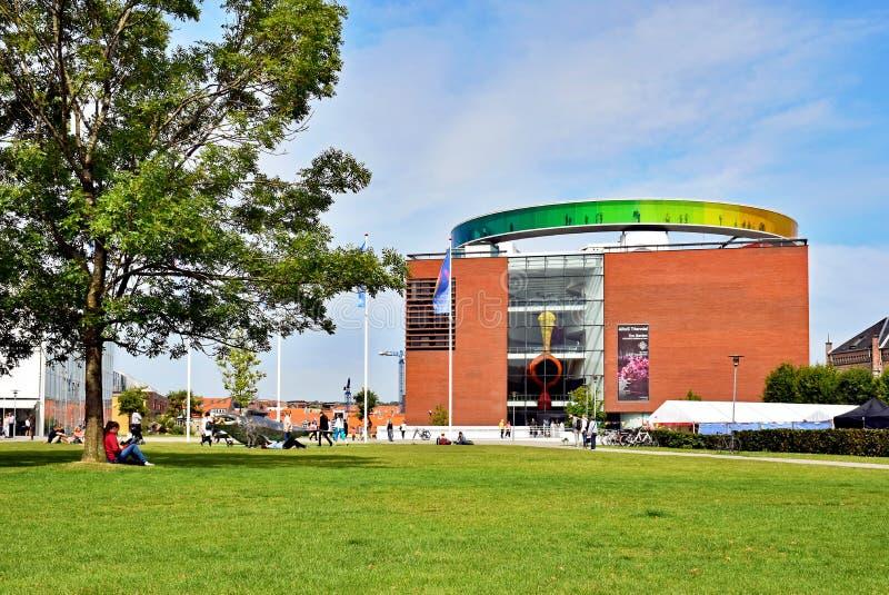 ARoS Aarhus Art Museum, Denmark. Aarhus, Denmark - July 20, 2017: People are visiting the ARoS Aarhus Art Museum and the `Your rainbow panorama` on the roof stock photo