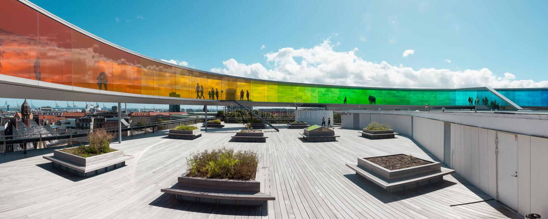 ARoS Aarhus Kunstmuseum terrace. ARoS Aarhus Kunstmuseum in denmark royalty free stock images