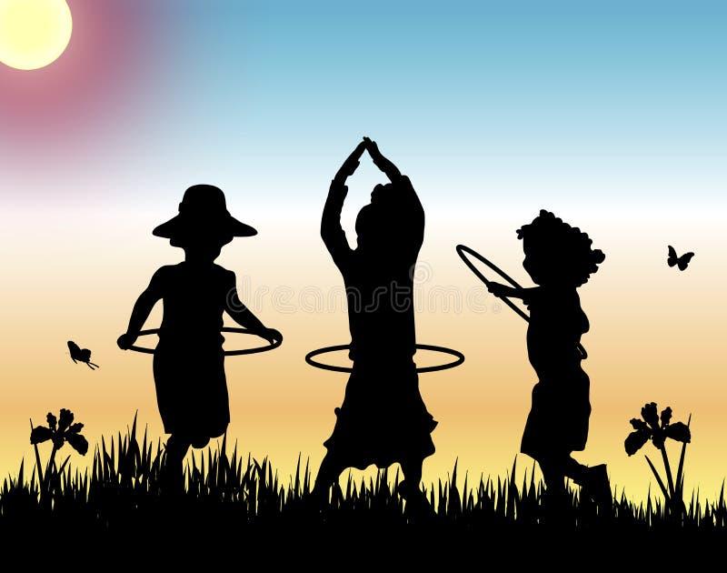 Aros de Hula no por do sol ilustração royalty free