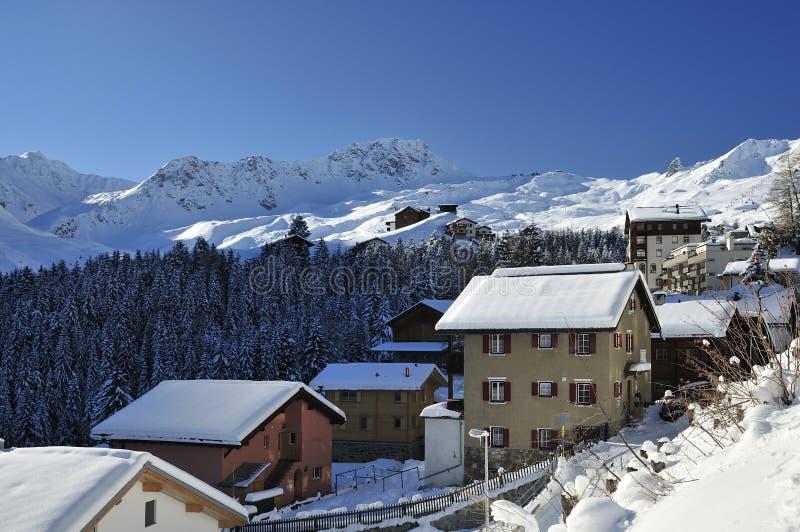 Arosa Ski Resort. Winter scenery in the mountain town Arosa in Switzerland royalty free stock photos