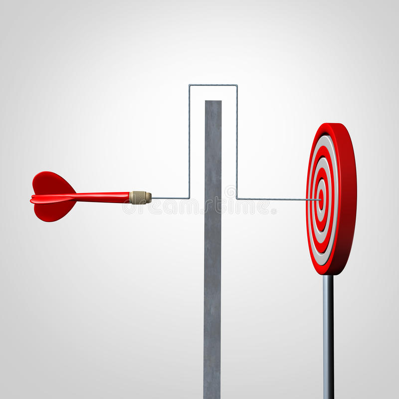 Around A Barrier. Business concept as a red dart solving an obstacle problem by averting a wall and hitting the target as a success metaphor for agility and stock illustration