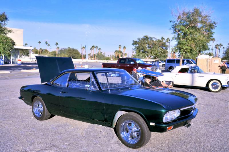 Green Second Generation Chevrolet Corvair. Around 1967, Chevrolet introduced a new body style on the Corvair which had been deemed unsafe by the automotive press stock images