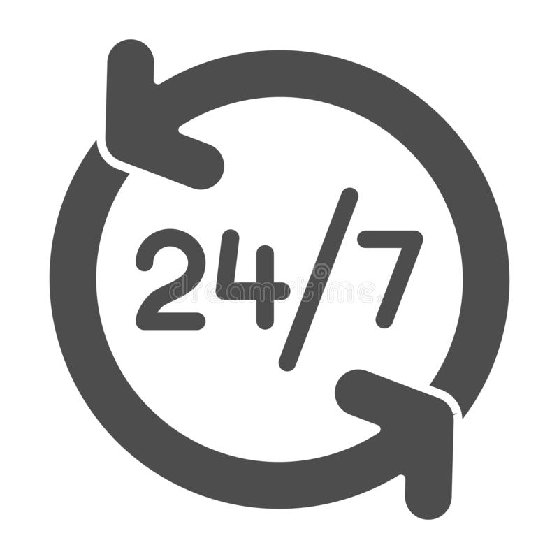 Around the clock solid icon. 24 hours service vector illustration isolated on white. Open all day glyph style design. Designed for web and app. Eps 10 stock illustration