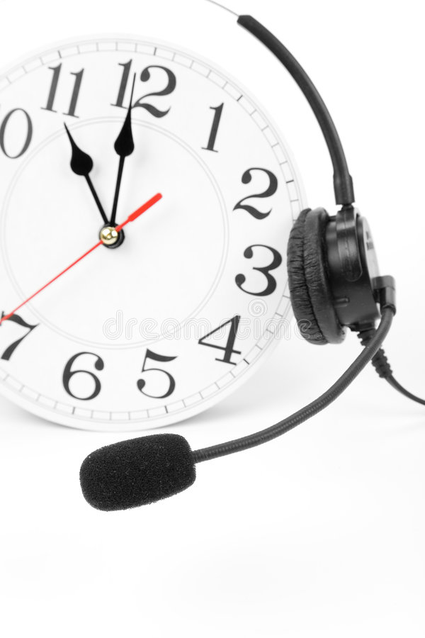 Around the clock support. Clock and telephone, around the clock supporting royalty free stock photos