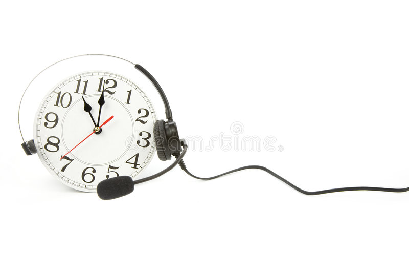 Around the clock support. Clock and telephone, around the clock supporting stock images