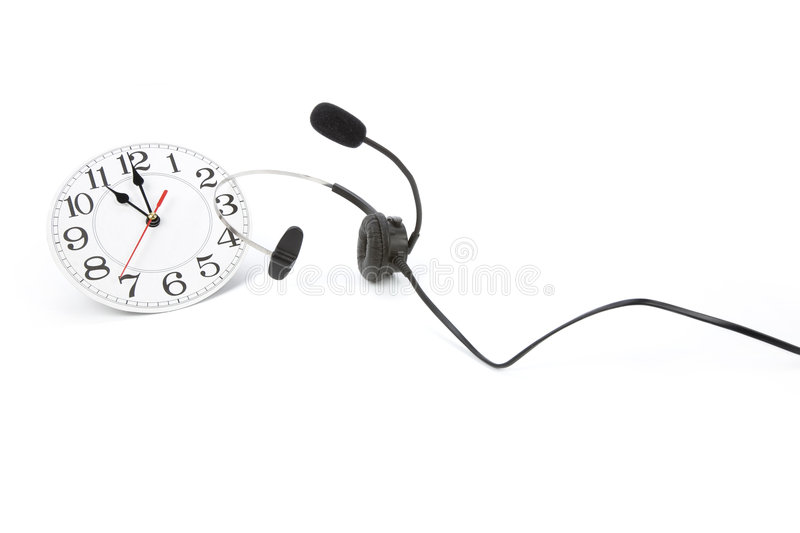 Around the clock support. Clock and telephone, around the clock supporting stock photography