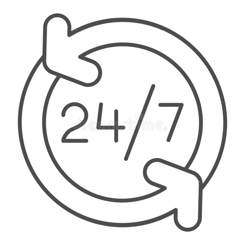 Around the clock thin line icon. 24 hours service vector illustration isolated on white. Open all day outline style. Design, designed for web and app. Eps 10 stock illustration