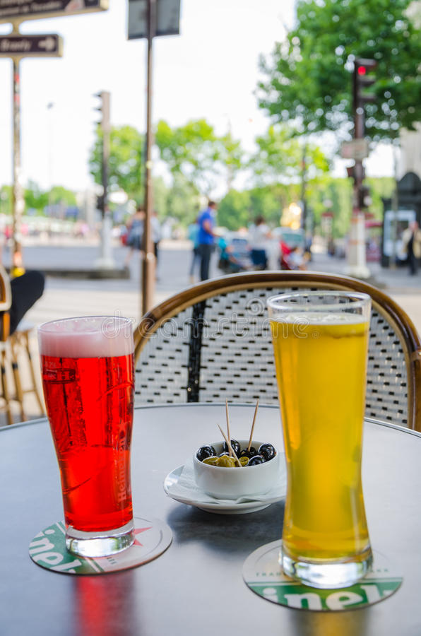 Around glass. In terrace of a Parisian coffee stock images