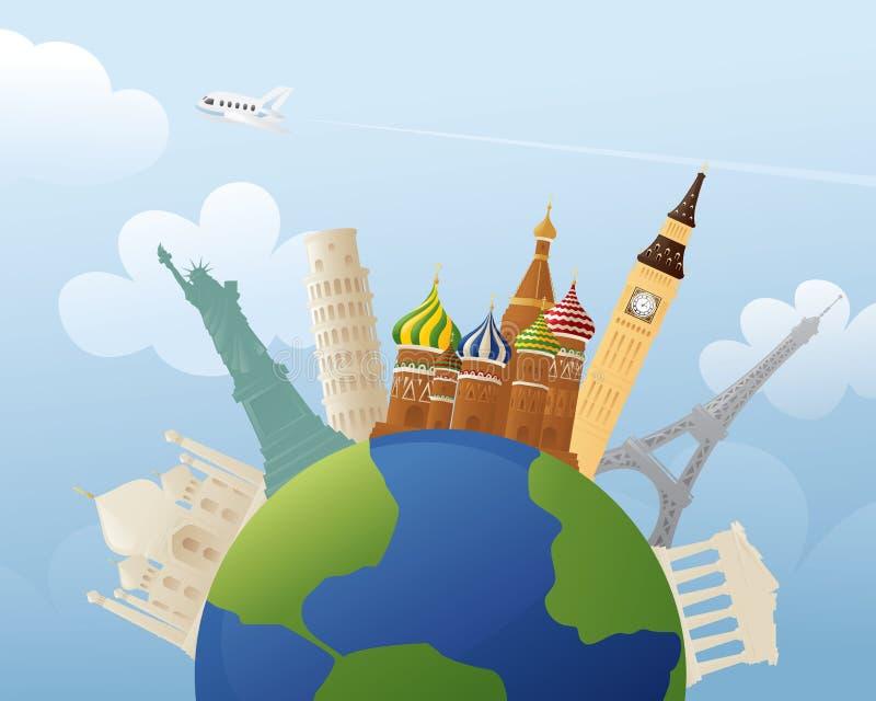 Around the Globe. Simple representations of various world landmarks around the world stock illustration