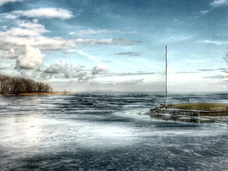 Around Montreal, Canada. Lost in the wind. River. Ice and snow on the ocean royalty free stock photos