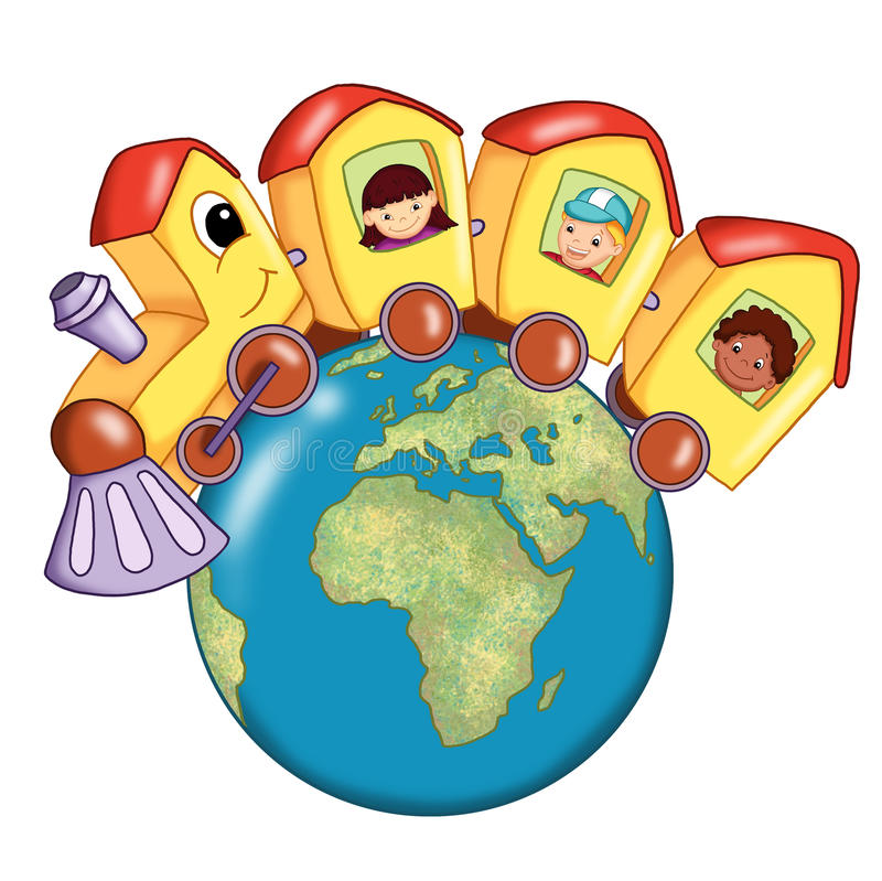Around the world. Colored illustration. A nice train goes around the world with children of different nation