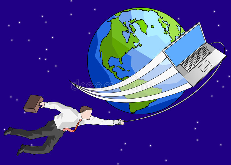 Around the world. A conceptual illustration of a business man being carried around the world by his computer. This illustration is completely of my own invention