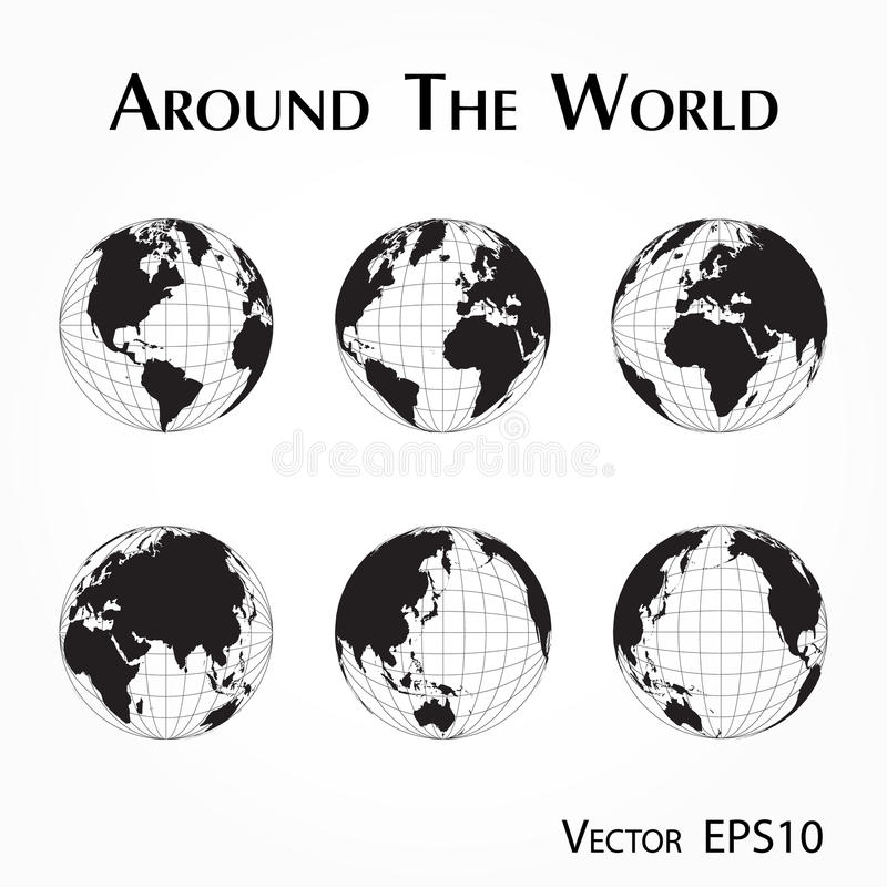 Download Around The World Outline Of Map With Latitude And Longitude Stock Vector
