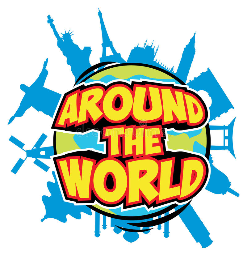 Around the world. Text with globe and world landmarks
