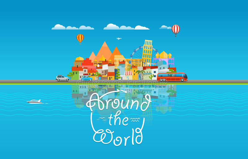 Around the world travelling concept. Asia cityscape royalty free illustration